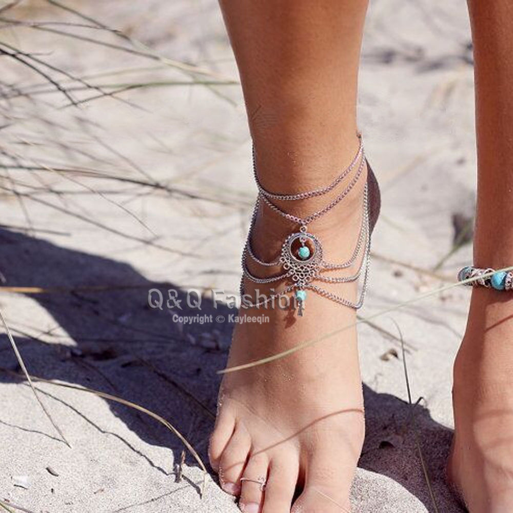 jewel cuff sterling silver bracelet anklet pin summer hand jewelry forged piola bangle ankle by