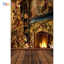 Yeele Vinyl Christmas Tree Fireplace Children Birthday Party Photography Background Baby Photographic Backdrop For Photo Studio sjoloon christmas photography backdrops christmas tree photographic background snow photo backdrop fond photo studio vinyl props