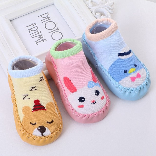 Cartoon Animal Baby Socks with Rubber Soles