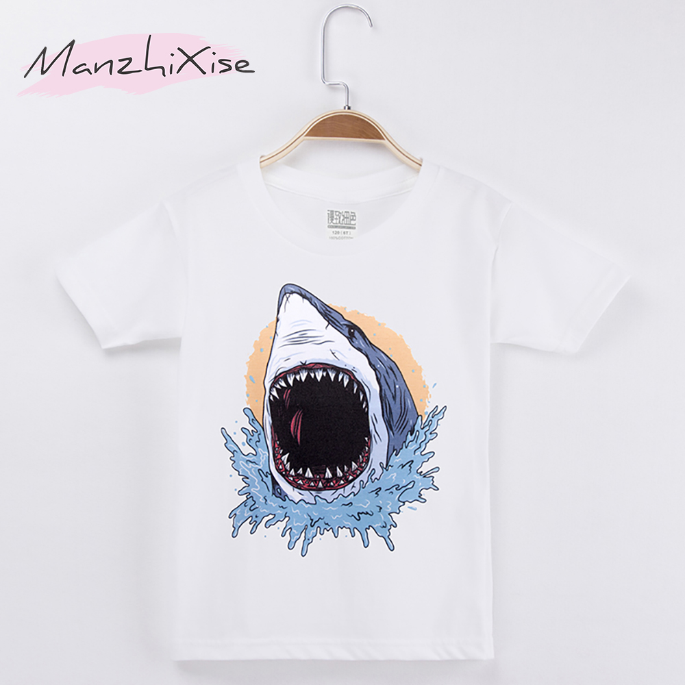 2018 Fashion Nova Chidren Clothes Kids T-shirt Big Shark Cartoon Print 100% Cotton White Boys Short T Shirts Baby Girls Top Tee
