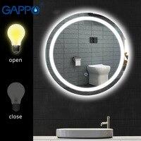 Gappo зеркала для ванной комнаты круглый светодиодный косметическое зеркало сенсорный выключатель света регулируемый настенный макияж зерк
