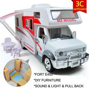 Diecast 1:28 DIY RV acousto-optic children toy recreational vehicle caravan with sound Flashing pull back Travel Van models(China)