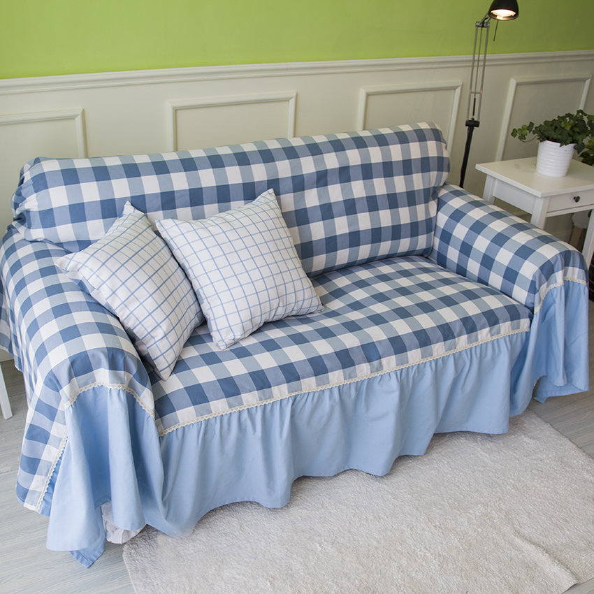 Mediterranean Plaid Sofa Cover Blue And White Covers For - Mediterrane Sofas