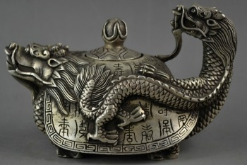 Old Handwork Chinese Tibetan Silver Auspicious Fairy Dragon Head Teapot