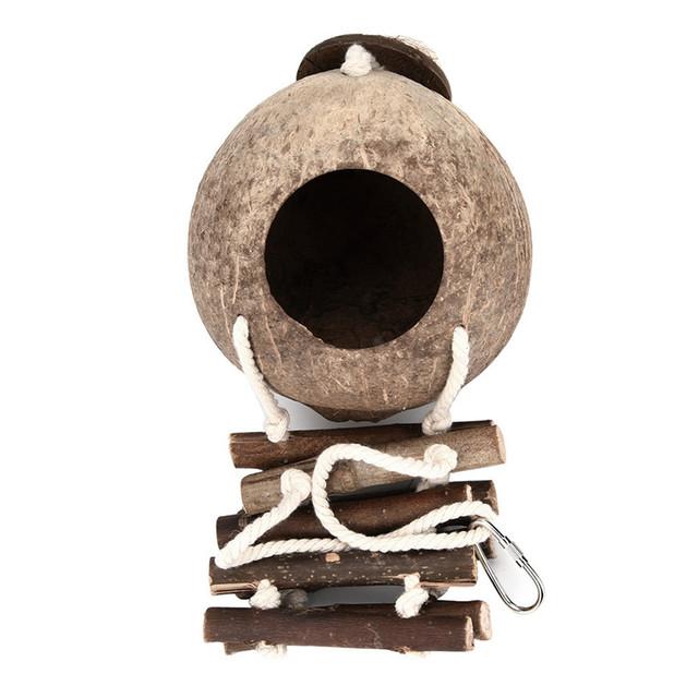 Bird Parrot Hanging Hammock Wooden Bird Ladder Swing Toy Handmade Coconut Shell Bed Cave Cage Bridge Hut House Pet Toy noDC22