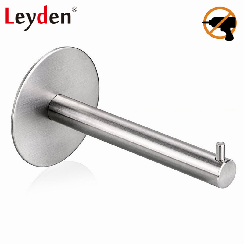 Leyden Toilet Paper Holder Toilet Tissue Holder Stainless Steel Brushed Nickel 3M Adhesive WC Paper Holder Bathroom Accessories everso wall mounted toilet paper holder with shelf stainless steel toilet roll paper holder tissue holder bathroom accessories