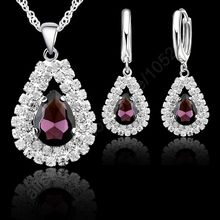 "Free Shipping Stock 925 Sterling Silver Purple Crystal Pendant Necklace Hoop Earring Set Ear Leverback Necklace 18"" Silver Chain(China)"