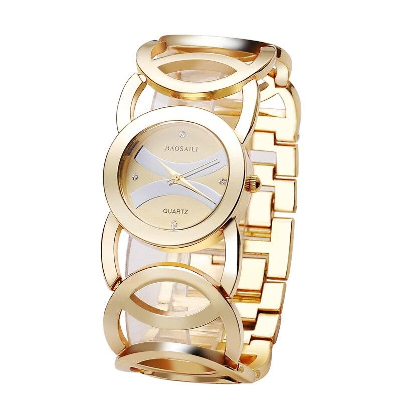 Prix pour BAOSAILI Marque Magie Nouvelle Mode Dame Or Montres Femmes Complet En Acier Inoxydable Quartz Montres Relojes Mujer Relogio bs-001