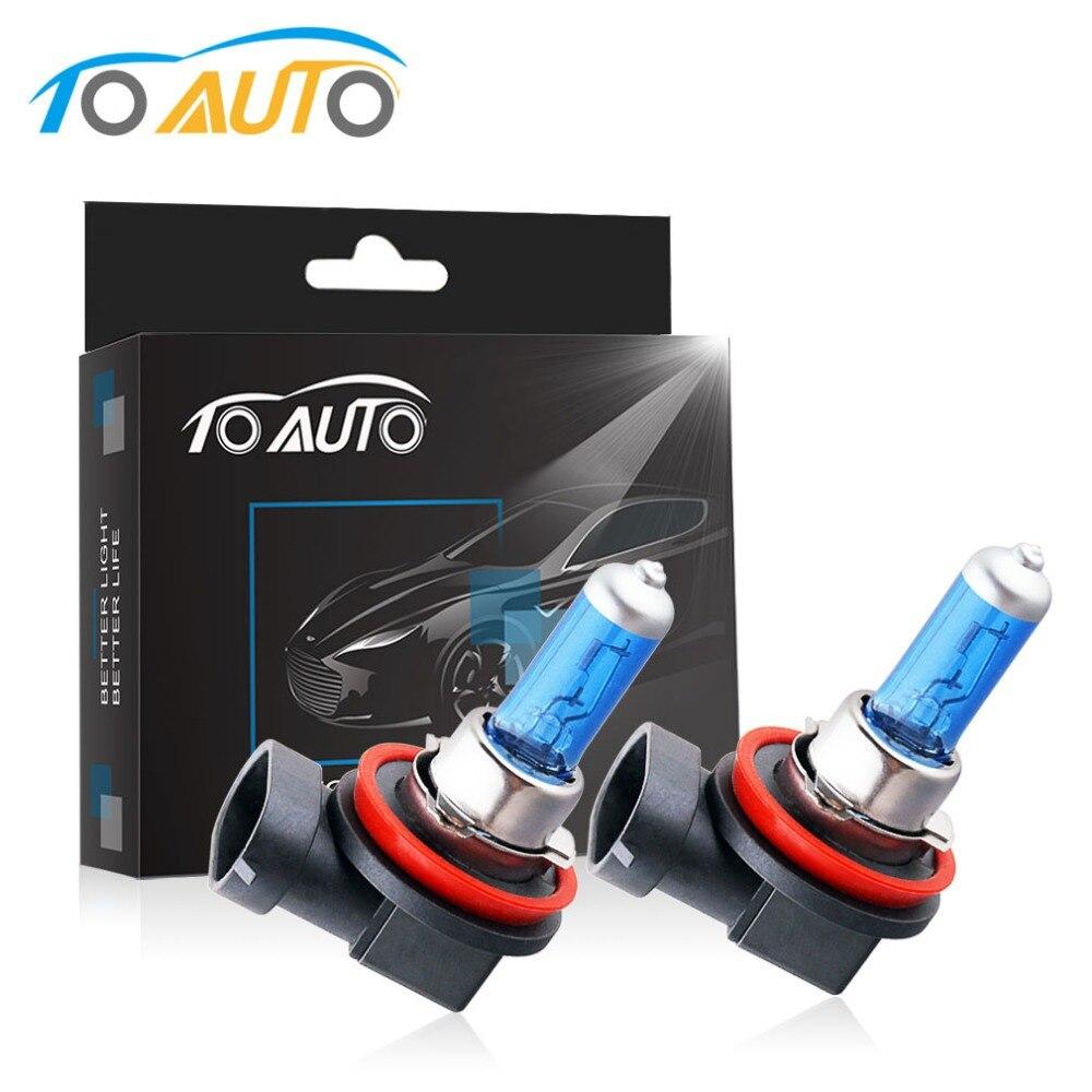 2PCS H11 55W Halogen Bulb White Quartz Glass Auto Fog Lights Lighting Car Driving Lamp Automobiles Light Source 12V 5000K
