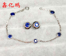18 k gold inlaid natural sapphire set in Sri Lanka bracelet earrings The fire royal blue color