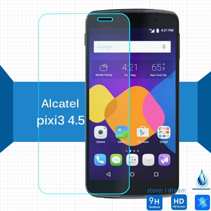 Galleria fotografica 2PCS Alcatel One Touch Pixi 3 4.5 Tempered Glass Screen Protector 9h safety Protective Film on pixi3 4027A 4027X 4027D 4028E