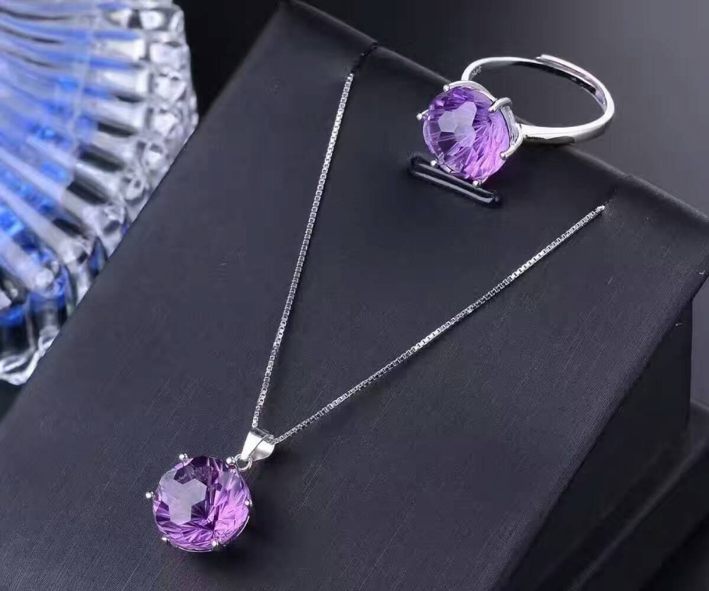 Natural Fireworks amethyst gem jewelry sets natural gemstone ring Pendant Earrings 925 silver Stylish round women party jewelry natural green jasper gem jewelry sets natural gemstone ring earrings pendant 925 silver stylish elegant round women fine jewelry