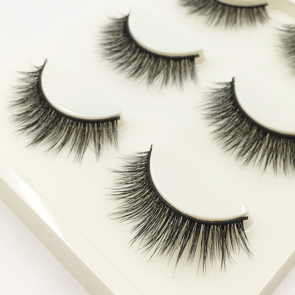 YAQIMEIER 3 Pair 3D Long Thick Eyelahses High Quality Theatrical Makeup Women Lasting Fake Lashes Extension Full Strip Lashes