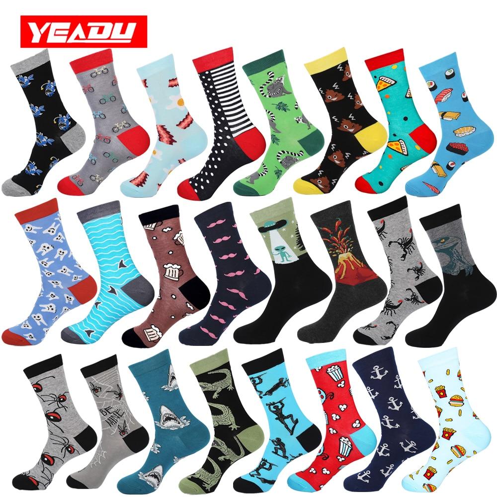 YEADU 85% Cotton Men's Socks Winter Harajuku Colorful Funny Poop Dinosaur Sushi Moustache Dress Socks for Male Christmas Gift