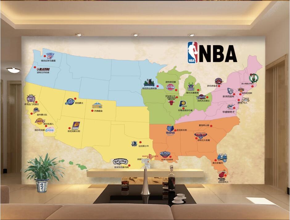 US $16.07 48% OFF Custom photo 3d wallpaper Map USA basketball team emblem  TV background wall decor room 3d wall murals wallpaper for walls 3 d-in ...