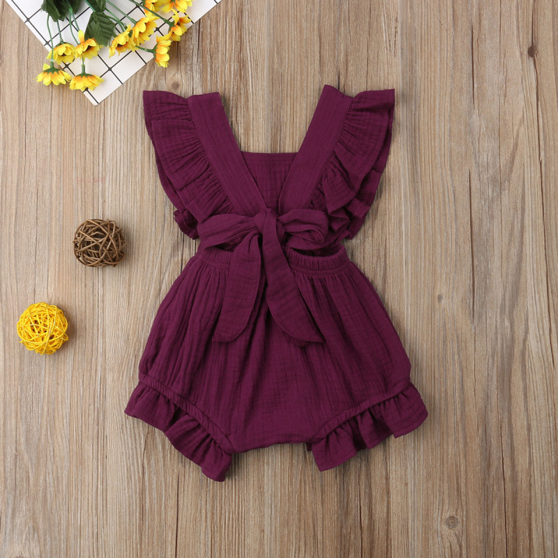 HTB1yhKaayLrK1Rjy1zdq6ynnpXan 6 Color Cute Baby Girl Ruffle Solid Color Romper  Jumpsuit Outfits Sunsuit for Newborn Infant Children Clothes Kid Clothing