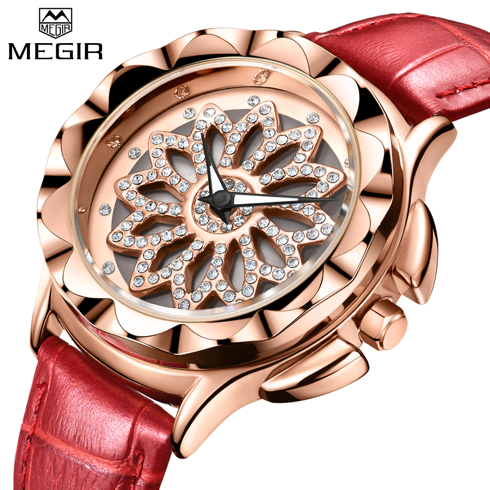 где купить MEGIR Unique design artificial rhinestone dial Fashion Women Watches Top Brand Luxury Leather Ladies Quartz Watch Clock Lovers по лучшей цене