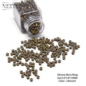 Image 5 - Neisti Silikon Micro Ring Perlen Haar Verlängerung Werkzeuge Rohre Für Feder Haar Extensions 1000 stücke/flasche 5 Farben Erhältlich