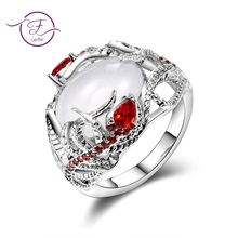3e21c17f4d Mode Creative Moonstone plume lunette Settiing 925 anneaux en argent  Sterling pour les femmes Vintage rouge