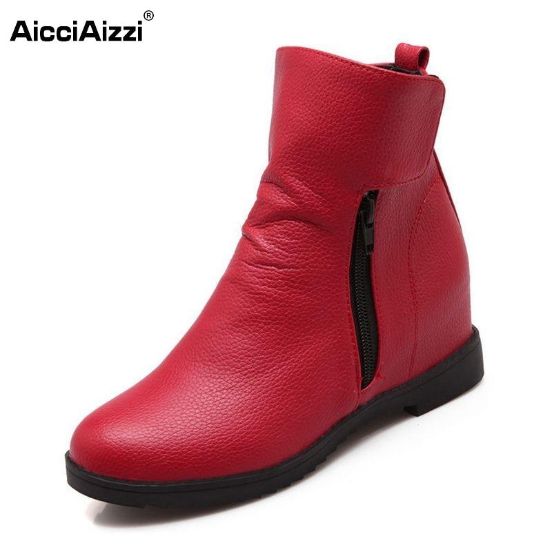 Women Flats Half Short Boots Winter Snow Round Toe Boot Zipper Casual Shoes Woman Footwear Warm Botas Shoes Size 35-43 nemaone 2017 gladiator snow boots women flats heels half short boot ladies warm plush winter boots leisure shoes woman