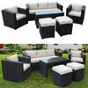 Garden Rattan Sofa Set With Dining Table 1 1 3 Ottoman Stools Outdoor Furniture HOT SALE