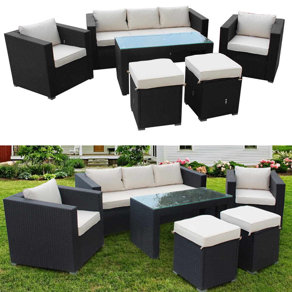 Garden Rattan Sofa Set with Dining Table 1+1+3 Ottoman Stools Outdoor Furniture HOT SALE