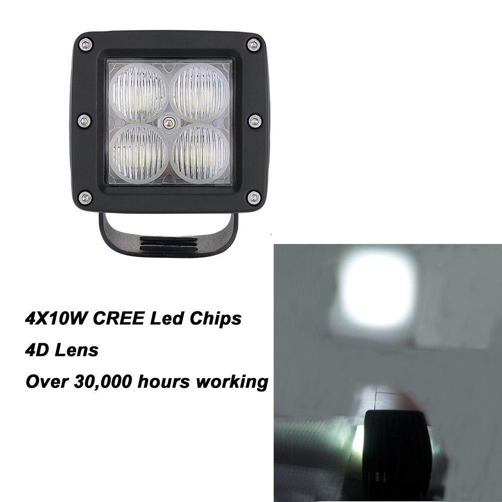 ФОТО 1pc 40W 3x3 Inch 4D Led Pods 4pcs*10w Led Work Light 40w high intensity 3600LM Flodd Beam for SUV Boat  Lamp
