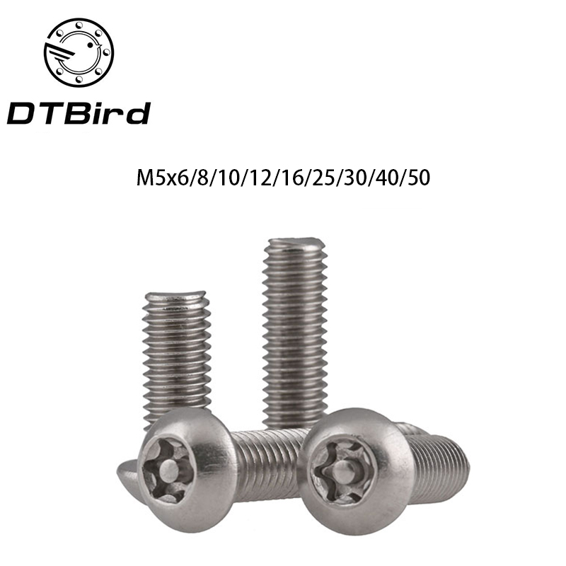 20PCS M5*6/8/10/12/16/20/25/30/40/50 A2 Stainless Steel Torx Button Head Tamper Proof Security Screw Anti Theft Cored Core cctv security explosion proof stainless steel general bracket