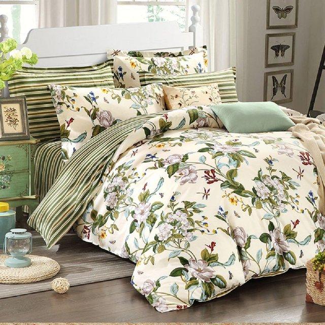 WINLIFE Floral Bettwäsche Amerikanischen Land Stil Bettbezug Set Shabby Vintage  Schlafzimmer Set Mädchen Bettdecke Set 100