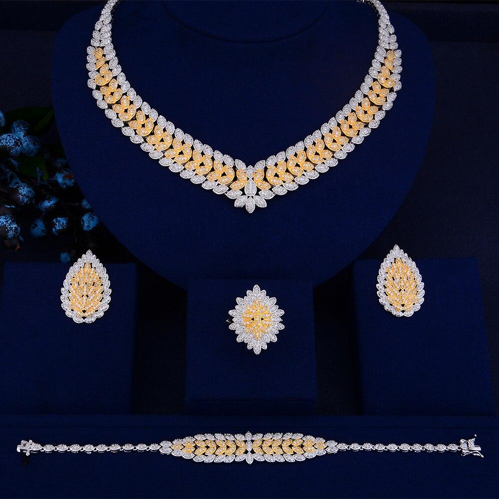 SisCathy 4 pièces nouveau luxe magnifique boucles d'oreilles Bracelet bague collier ensembles de bijoux pour les femmes romantique mariée bijoux de mariage
