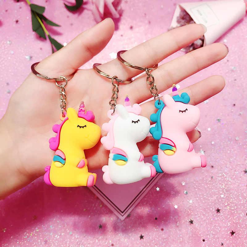 Rainbow Unicorn Animal PVC Chaveiro para Mulheres Dos Homens Saco De Pele Telefone Ornamento Chaveiro Porte Clef Chaveiro Bolsa Decoração