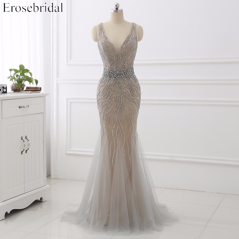 Erosebridal Light Grey Mermaid Evening Dress Long 2019 Beaded Belt Lace Formal Women Wear V Neck Back In Stock