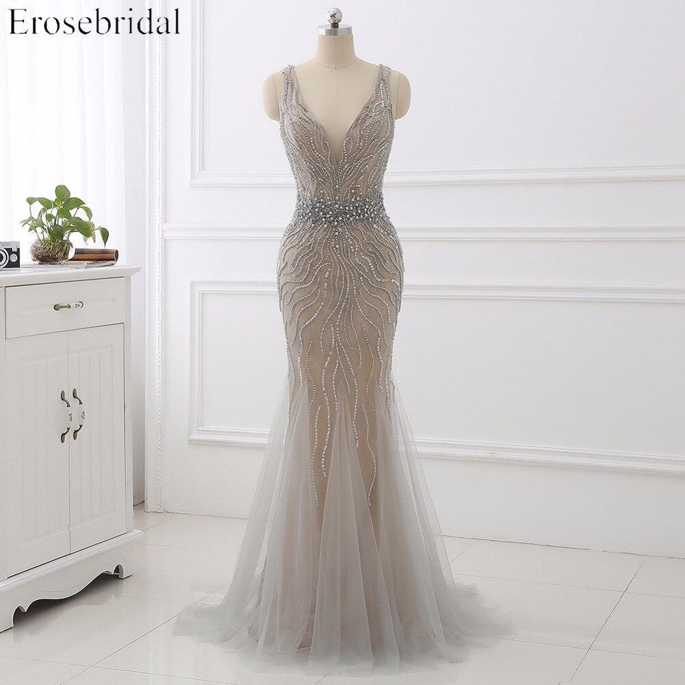 Erosebridal Mermaid Evening Dress Long 2019 Light Grey Beaded Luxury Long Formal Dress With Train Open Back In Stock