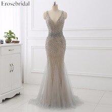 Erosebridal Mermaid Evening Dress Long 2020 Light Grey Beaded Luxury Long Formal Dress with Train Open Back Long Prom Gown