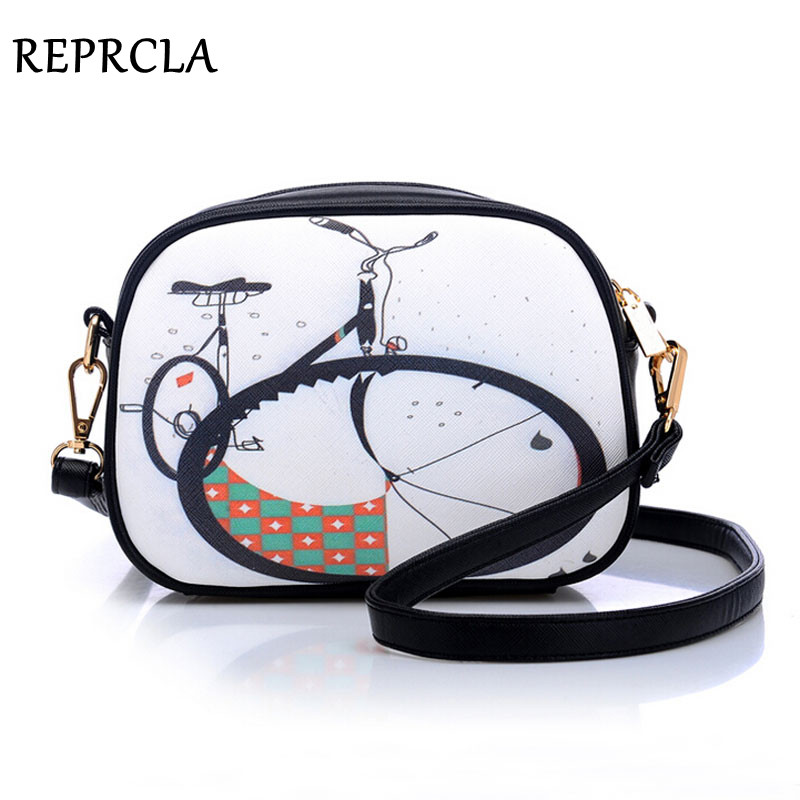 Women bag vintage print messenger bags for women crossbody fashion small shoulder bag ladies pu leather handbags New A370