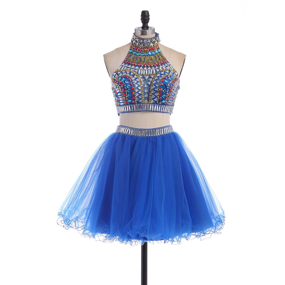 e52b83e6b6e Crystal Royal Blue Two Piece Prom Dresses Ball Gowns Halter Beaded Crop Top  Homecoming Cheap-