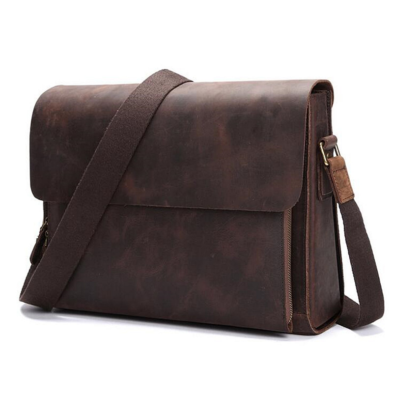 Designer handbags Men's 14 inch laptop bag Genuine Cowhide leather messenger bags Laptop Briefcase Bag men travel bags