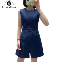 Luxury Brand Dress 2019 Dark Blue Dress Woman A line Dress Sleeveless Elegant Tank Dress