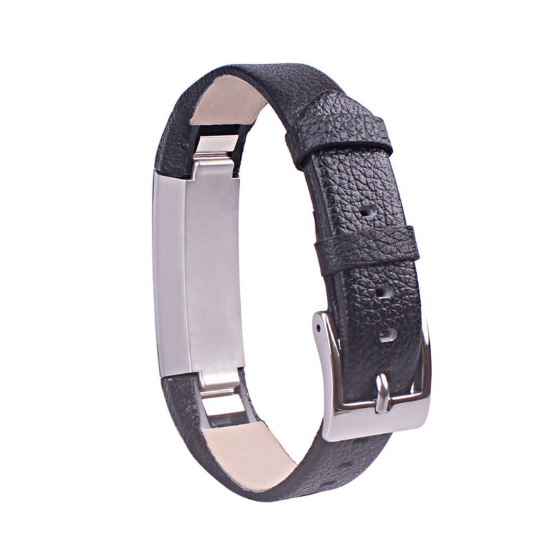 Black Leather bands for fitbit alta ,High quality metal buckle Fit for most wrist Graceful Black Color 2pcs/lot