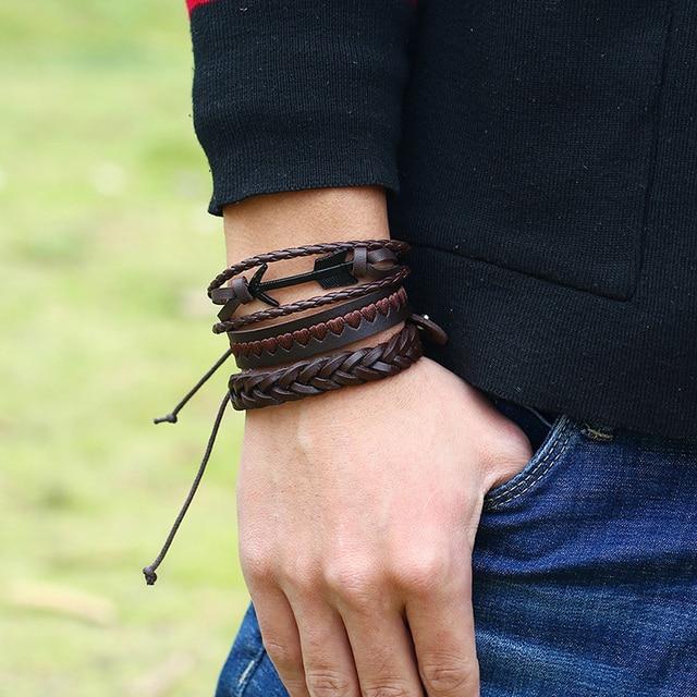 Niuyitid âncora pulseira para homens seta pena vintage artesanal multicamadas pulseira de couro tecido feminino presente jóias 6 pçs conjunto
