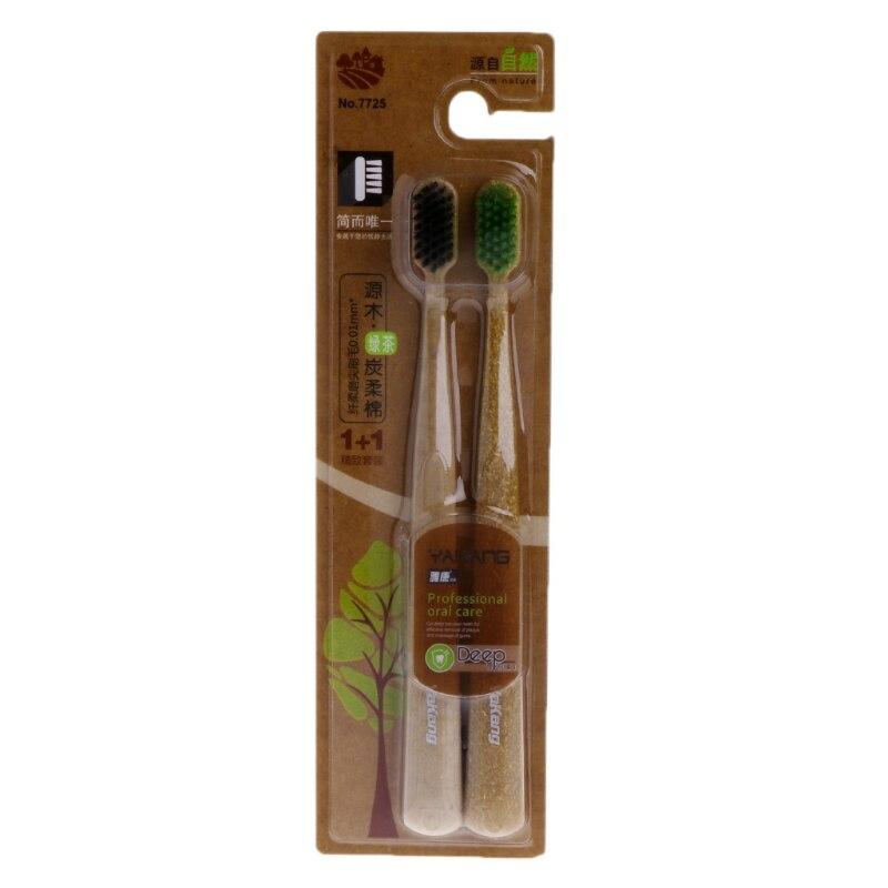 ღ ღ2pcs Green Tea Nano Carbon Bamboo Toothbrush Ultra Thin 0 01mm Soft Deep Clean A222