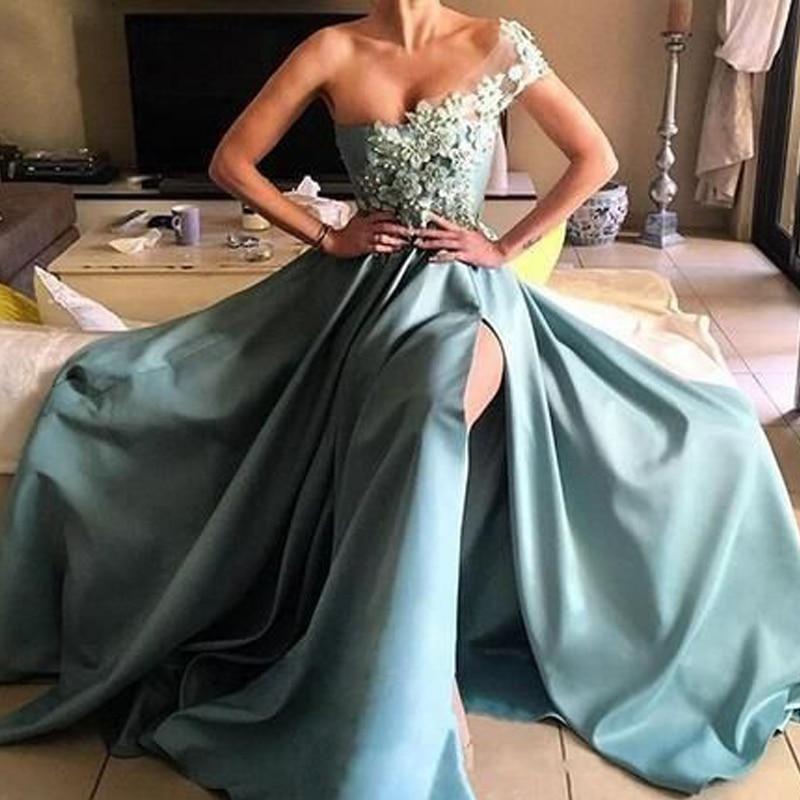 One Shoulder Neckline 3D-flowers Beading   Prom     Dress   with Split Side Zipper A-line Sweep Train Satin Part Evening   Dress   Adult