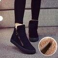 Mujeres Botas 2016 Mujeres Del Invierno Botas de Nieve de Algodón Zapatos de Mujer Tobillo botas Planas Con Zapatos de Punta Redonda de Alto Superior Zapatos Casuales Calientes