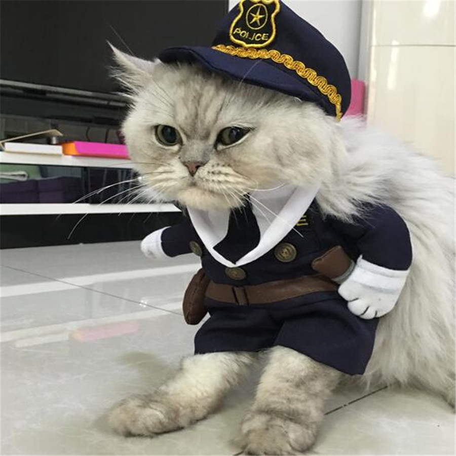 New Products For Pet Dog Costume Clothes Funny Cats Costumes For Small Animals Police Suit Coat And Hat High Quality