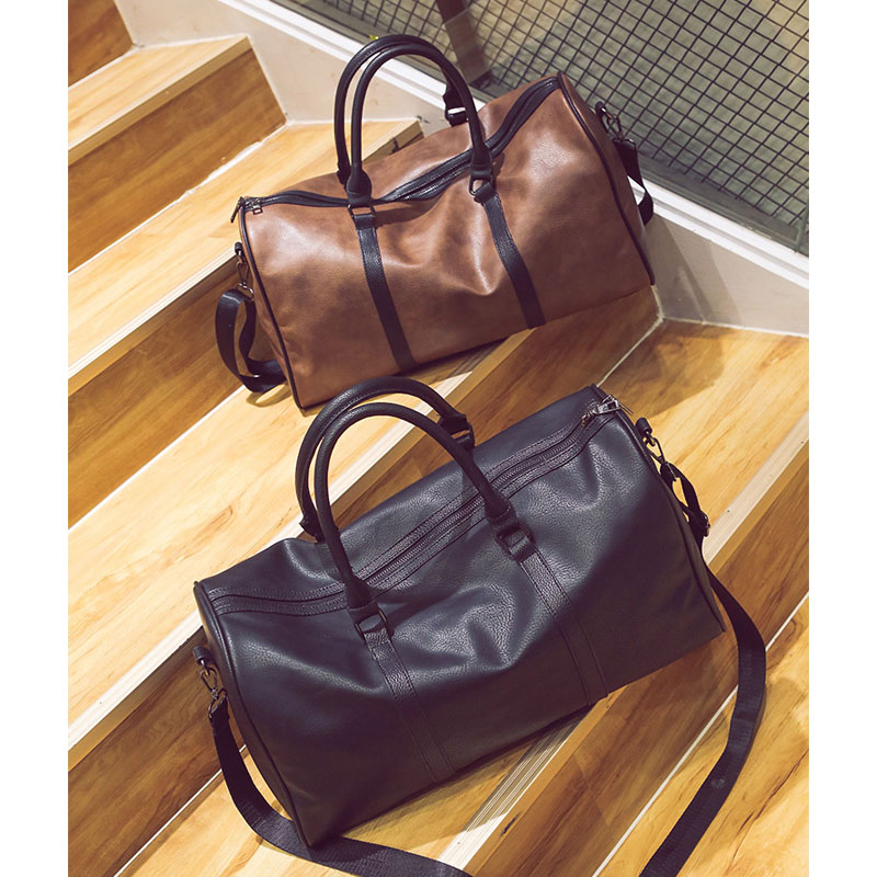 PU Leather Travel Bag Stylish Women Casual Handbag Men Travel Duffel Bags  Male Female High Quality Large Capacity Luggage Bags-in Travel Bags from  Luggage ... 3f93909c91882