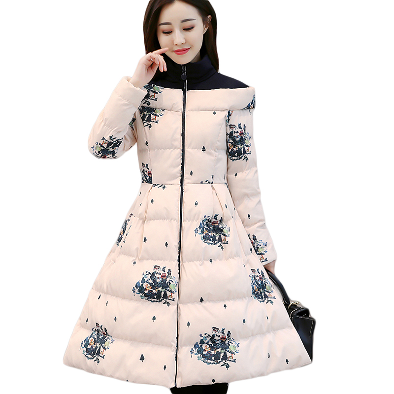 2017 New Women Winter Long Print Jacket Parkas Female Elegant Turtleneck Down Cotton Coat Thicken Warm Print Overcoat CM1878 hijklnl 2017 new winter female cotton jacket long thicken coat casual korean style women parkas overcoat hyt002