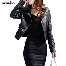 2017 New Spring PU Leather Coat Women Fashion Short Design Leather Overcoat Blazer Suede Casual Motorcycle Brand Leather Jacket