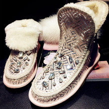 2016 Brand New Rhinestone Winter Snow Boots Women Shoes Fashion Warm Fur Australia Boots Women Ladies Shoes Casual Ankle Boots