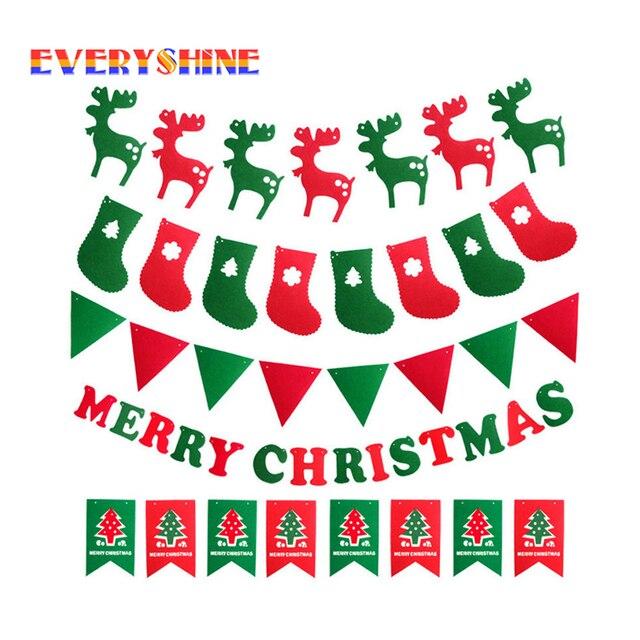 Happy Новый год для 2019 рождественские украшения лося носки дерево баннер флаги висячие украшения поставляет SD116
