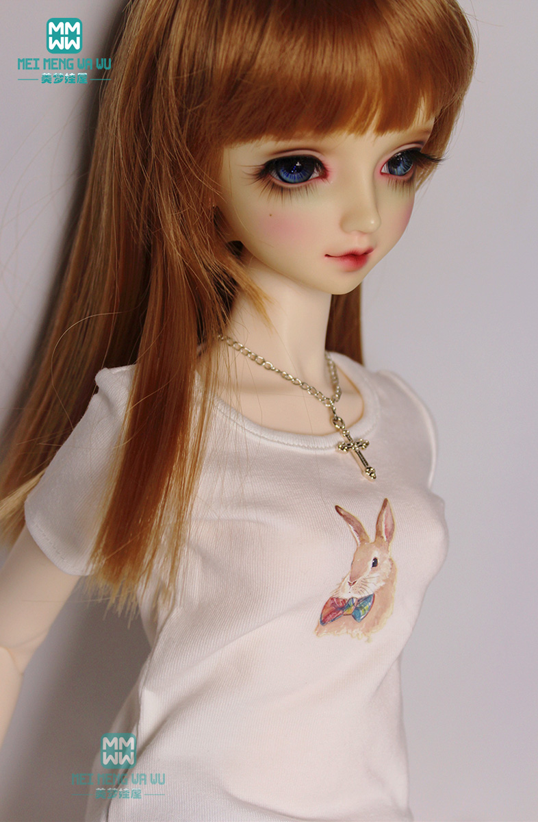 New leisure printing white With short sleeves T-shirt 1//3 1//4 MSD BJD Clothes